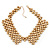'French Collar' Beaded Choker Necklace In Matt Gold Finish - 38cm Length/ 7cm Extension - view 2