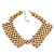 'French Collar' Beaded Choker Necklace In Matt Gold Finish - 38cm Length/ 7cm Extension - view 10