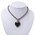 Silver Plated Black Resin 'Heart' Pendant Mesh Magnetic Choker Necklace - 34cm Length