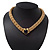 Gold Plated Mesh Magnetic Choker Necklace With Black Stone - 38cm Length