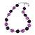 Long Resin Purple/Violet 'Button' Necklace On Cotton Cord - 84cm Length