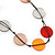 Long Brown/Orange/Beige Resin Button Cord Necklace - 96cm Length - view 2