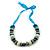 Chunky Light Green Wood, Glass & Fabric Bead Necklace On Light Blue Silk Ribbon - Adjustable