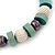 Chunky Light Green Wood, Glass & Fabric Bead Necklace On Light Blue Silk Ribbon - Adjustable - view 5