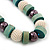 Chunky Light Green Wood, Glass & Fabric Bead Necklace On Light Blue Silk Ribbon - Adjustable - view 7