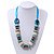 Chunky Light Green Wood, Glass & Fabric Bead Necklace On Light Blue Silk Ribbon - Adjustable - view 2
