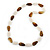 Long Brown/White Acrylic Necklace - 88cm Length