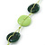 Long Resin Lime/Dark Green 'Button' Necklace On Cotton Cord - 84cm Length - view 3