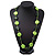 Long Resin Lime/Dark Green 'Button' Necklace On Cotton Cord - 84cm Length - view 5