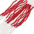 Long Multistrand Red/White Glass Bead Necklace - 80cm Length - view 2