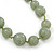 Long Round Pale Green Resin 'Cracked Effect' Bead Necklace With Silk Ribbon - Adjustable - view 2