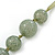 Long Round Pale Green Resin 'Cracked Effect' Bead Necklace With Silk Ribbon - Adjustable - view 3