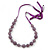 Long Round Purple Resin 'Cracked Effect' Bead Necklace With Silk Ribbon - Adjustqable