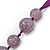 Long Round Purple Resin 'Cracked Effect' Bead Necklace With Silk Ribbon - Adjustqable - view 3