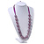 Long Round Purple Resin 'Cracked Effect' Bead Necklace With Silk Ribbon - Adjustqable - view 5