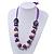 Chunky Wood, Glass & Fabric Bead Necklace On Silk Ribbon - Adjustable