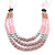 Long Multi Layered Pink/Metallic Silver/Magnolia Acrylic Bead Necklace With Pink Silk Ribbon - Adjustable - view 3