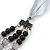 Long Multi Layered Grey/Metallic/Ash Grey/Black Acrylic Bead Necklace With Light Silver Ribbon - Adjustable - view 4