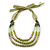 Long Multi Layered Lime/Gold/Green/Transparent Acrylic Bead Necklace With Light Green Silk Ribbon - Adjustable - view 6