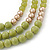 Long Multi Layered Lime/Gold/Green/Transparent Acrylic Bead Necklace With Light Green Silk Ribbon - Adjustable - view 7