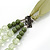 Long Multi Layered Lime/Gold/Green/Transparent Acrylic Bead Necklace With Light Green Silk Ribbon - Adjustable - view 8