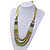 Long Multi Layered Lime/Gold/Green/Transparent Acrylic Bead Necklace With Light Green Silk Ribbon - Adjustable - view 4