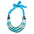Long Multi Layered Metallic/ Teal/ Turquoise Coloured Acrylic Bead Necklace With Azure Silk Ribbon - Adjustable - view 2