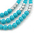 Long Multi Layered Metallic/ Teal/ Turquoise Coloured Acrylic Bead Necklace With Azure Silk Ribbon - Adjustable - view 3
