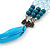 Long Multi Layered Metallic/ Teal/ Turquoise Coloured Acrylic Bead Necklace With Azure Silk Ribbon - Adjustable - view 5