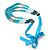 Long Multi Layered Metallic/ Teal/ Turquoise Coloured Acrylic Bead Necklace With Azure Silk Ribbon - Adjustable - view 6