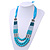 Long Multi Layered Metallic/ Teal/ Turquoise Coloured Acrylic Bead Necklace With Azure Silk Ribbon - Adjustable - view 7