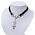 Victorian Black Suede Style Diamante Choker Necklace In Silver Tone Metal - 34cm Length with 7cm extension - view 8