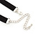 Victorian Black Suede Style Diamante Choker Necklace In Silver Tone Metal - 34cm Length with 7cm extension - view 5