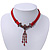 Victorian Red Suede Style Diamante Choker Necklace In Bronze Tone Metal - 34cm Length with 7cm extension - view 7