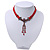 Victorian Red Suede Style Diamante Choker Necklace In Bronze Tone Metal - 34cm Length with 7cm extension - view 10