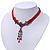 Victorian Red Suede Style Diamante Choker Necklace In Bronze Tone Metal - 34cm Length with 7cm extension - view 11