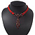 Victorian Red Suede Style Diamante Choker Necklace In Bronze Tone Metal - 34cm Length with 7cm extension - view 8