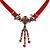 Victorian Red Suede Style Diamante Choker Necklace In Bronze Tone Metal - 34cm Length with 7cm extension - view 3