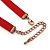 Victorian Red Suede Style Diamante Choker Necklace In Bronze Tone Metal - 34cm Length with 7cm extension - view 5