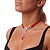 Victorian Red Suede Style Diamante Choker Necklace In Bronze Tone Metal - 34cm Length with 7cm extension - view 9