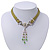 Victorian Olive Green Suede Style Diamante Choker Necklace In Silver Tone Metal - 34cm Length with 7cm extension - view 8