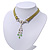 Victorian Olive Green Suede Style Diamante Choker Necklace In Silver Tone Metal - 34cm Length with 7cm extension - view 10