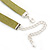 Victorian Olive Green Suede Style Diamante Choker Necklace In Silver Tone Metal - 34cm Length with 7cm extension - view 6