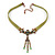 Victorian Olive Green Suede Style Diamante Choker Necklace In Bronze Tone Metal - 34cm Length with 7cm extension