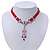 Victorian Red Suede Style Diamante Choker Necklace In Silver Tone Metal - 34cm Length with 7cm extension - view 7