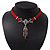 Victorian Red Suede Style Diamante Choker Necklace In Silver Tone Metal - 34cm Length with 7cm extension - view 8