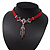 Victorian Red Suede Style Diamante Choker Necklace In Silver Tone Metal - 34cm Length with 7cm extension - view 11