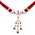 Victorian Red Suede Style Diamante Choker Necklace In Silver Tone Metal - 34cm Length with 7cm extension - view 3