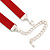 Victorian Red Suede Style Diamante Choker Necklace In Silver Tone Metal - 34cm Length with 7cm extension - view 6