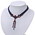 Victorian Dark Blue Suede Style Diamante Choker Necklace In Bronze Tone Metal - 34cm Length with 7cm extension - view 9